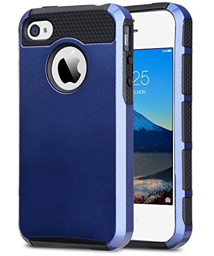 ULAK iPhone 4 Case, iPhone 4S Case,4S Case, Dual Layer Hybrid Slim Hard Case with Hard PC Cover and Soft Inner TPU for iPhone 4S 4(Navy Blue+Black)