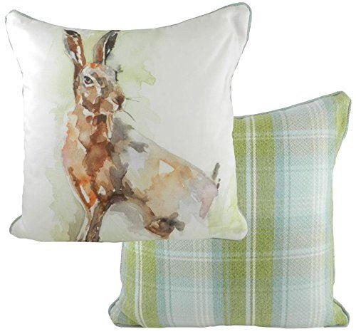Evans Lichfield Jennifer Rose Gallery Watercolour Animals Filled Cushion in Lone Hare Design with Tartan Stirling Check by EVANS LICHFIELD