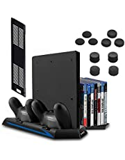 [Newest Version] Keten Vertical Stand for PS4 Slim / PS4 with Cooling Fan 2 in 1 Controller Charging Station/Game Storage 3 Port USB Hub - An All-In-One Area for All Your Gaming Needs, not for PS4 Pro