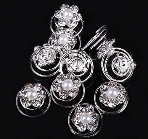 Braut Hochzeit Haarschmuck Musuntas 10er Set wundersch/öne wei/ß Haarspiralen Curlies aus Perlen Strass