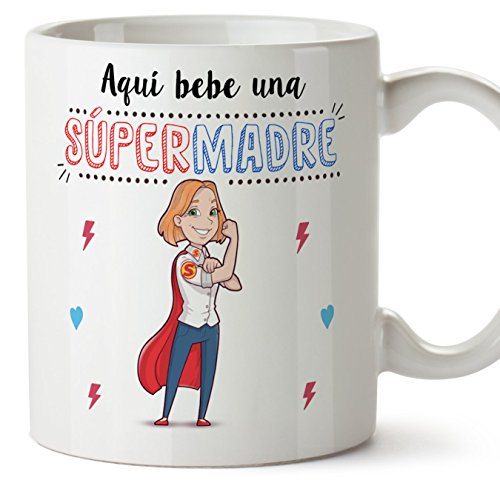da8b05874ad MUGFFINS Tazas Mama para Madres - AQUÍ Bebe UNA Super Madre - Taza Desayuno  Original 350 ml - Idea Regalo para el día de la Madre: Amazon.es: Hogar