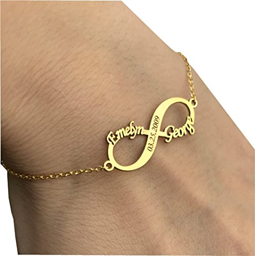 Personalized 925 Sterling Silver 18K Gold Plate Couple Infinity Bracelet Custom Made with Any Name by Sahaa