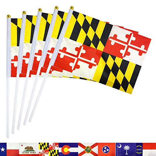 TSMD Maryland State Stick Flag 50 Pack Small Mini Hand Held Maryland MD Flags Banner On Stick,Party Decorations Supplies for Parades,School Sports Event,International Festival Celebration