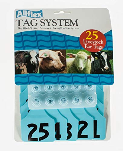 Allflex Global Maxi Numbered Cattle Ear Tags Blue 1-25