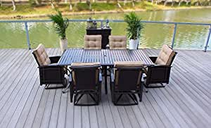 7pc Spider Web Wicker Patio Dining Set with Cushions