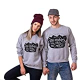 LUQUAN Couple Clothes Letter Printed Long Sleeve Sweatshirt Tops Shirts Blouse X-Large,Gray/Women