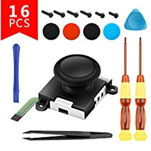 Left Right L/R Joystick NS Controller Joystick Replacement wil Accessories kit 3D Analog Sensor Rocker Stick Tweezer Pry Bar 6 Screws Professional Switch Repair Tool Set(16 in 1)