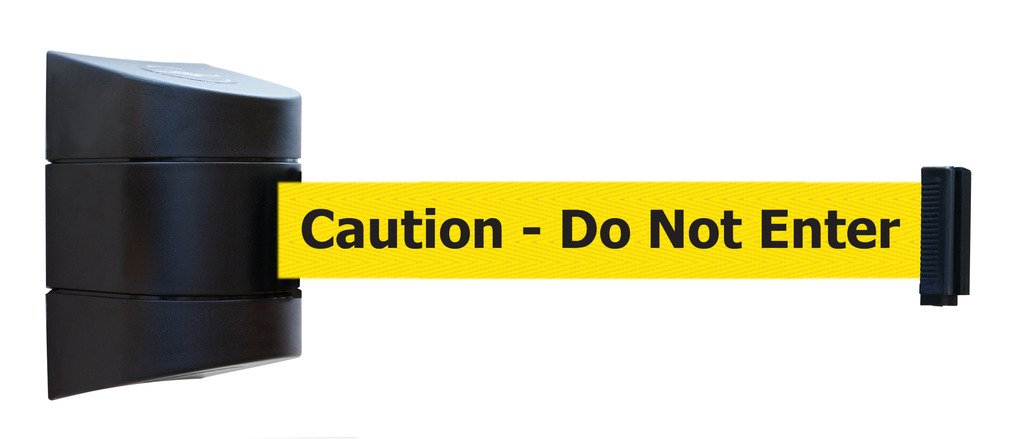 Tensabarrier 897-30-S-33-NO-YAX-C Wall Mount No Custom Yellow Webbing/Black ''Caution - Do Not Enter'' Standard Belt End, Mount Black Caps, 30' Standard