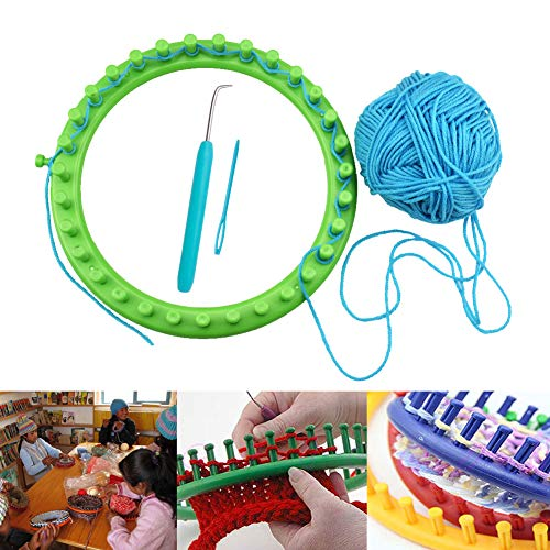 Vidillo Knitter Looms Set, 5 Size Round Knitting Looms Set Scraf Hat Maker, Plastic Round Knitting with 4 Size Pompom Maker and Knitting Needle and Hook for DIY Use by Vidillo (Image #2)