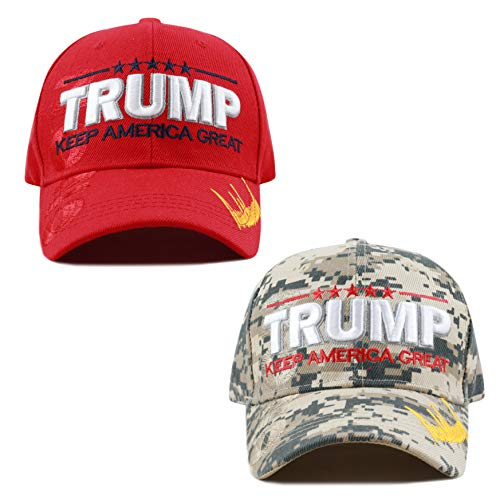 The Hat Depot Exclusive Donald Trump Keep America Great/Make America Great Again 3D Signature Cap (2020 Combo - DICM)