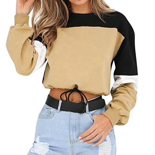 iQKA Women Color Block Splice Pullover Vintage Long Sleeve Sweatshirt Crop Top Blouse(Khaki,xx-Large)