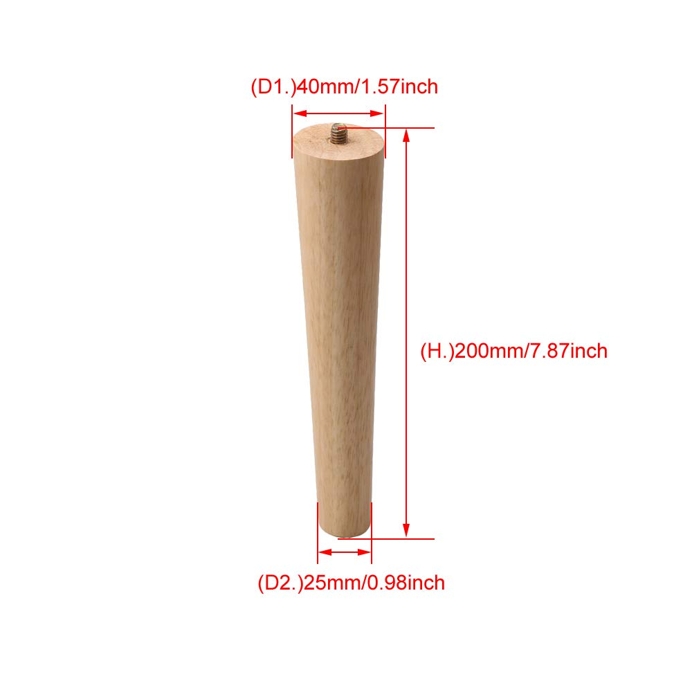 Silla Mesa RDEXP Juego de 4 Patas de Repuesto para Muebles de Madera de 20 cm de Altura con Rosca M8 para Armario sof/á Cama