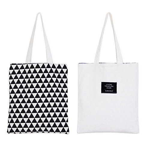 Reversible Bag Pattern (Flowertree Women's Graphic Pattern Handmade Reversible Canvas Tote Bag (black triangles))