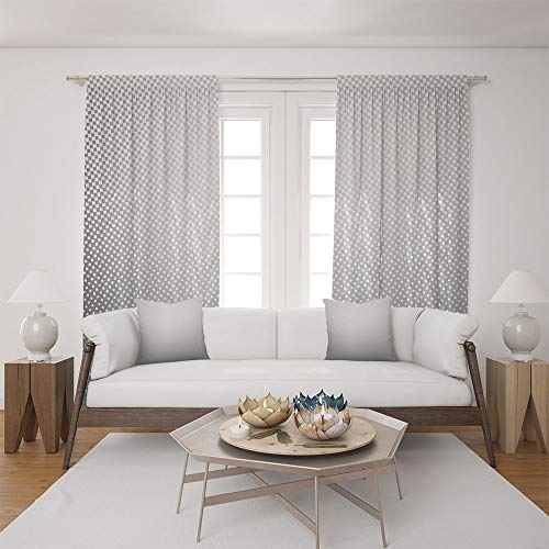 (iPrint 2 Panel Set Satin Window Drapes Living Room Curtains and 2 Pillowcases,Spots on Backdrop Creative Modern Pixel Art,The Perfect Combination of Curtains and Pillows Makes Your Living Room)