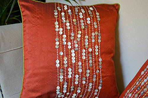 (Designer Cushion Covers Made with Raw Silk and Shell Buttons. Unique and Bold. Set of 2. 16''x 16''.)