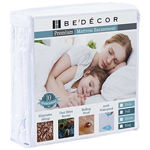 Bedecor Zippered Encasement Six Sides Waterproof, Dust Mite Proof, Bed Bug Proof Breathable Mattress Protector - Queen Size (Queen Size Cover Bed Bugs)