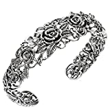 Paz Creations ♥925 Sterling Silver Rose Garden Cuff, Made in Israel (6.75)