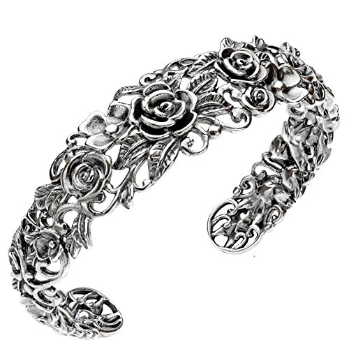 Paz Creations ♥925 Sterling Silver Rose Garden Cuff, Made in Israel (6.75) (Silver Sterling Bracelet Cuff Jewelry)