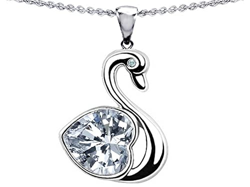 Star K Sterling Silver Large Love Swan Pendant Necklace