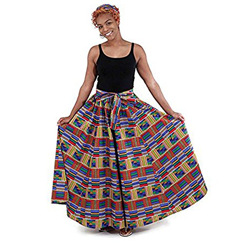 Red/Blue Kente Long Skirt