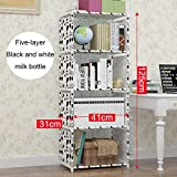 ONE FIVE DAY Multifunctional Simple Bookshelf Stainless Steel Rack Living Room Study Decorating Bookcase Bedroom Storage Rack Home Furniture for Everyone
