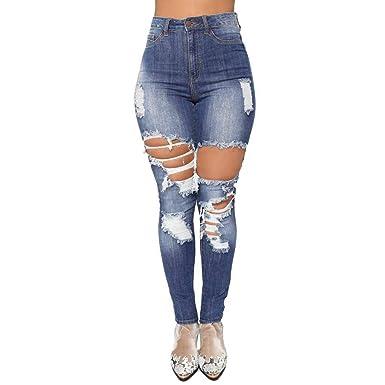 Vaqueros Mujer Rotos STRIR Mujer Elásticos Skinny Jeans ...