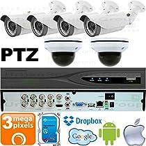USG Business Grade PTZ 3MP HD-TVI 6 Camera CCTV Kit : 2x 2MP PTZ Dome Cameras + 4x 3MP 2.8-12mm Bullet Cameras + 1x 8 Channel 3MP DVR + 1x 4TB HDD : Apple Android Phone App : True Plug & Play