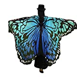 Anglewolf Soft Fabric Butterfly Wings Shawl Fairy Ladies Nymph Pixie Costume Accessory Women Girls Pretty Halloween Scarves Poncho Party Cosplay Beautiful Wrap Dresses Capes Stoles Coat(Blue)