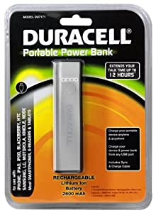 Duracell Portable Power Bank Rechargeable Lithium-Ion Battery (2600 Mah) for iPhone, iPad, Samsung (Silver)