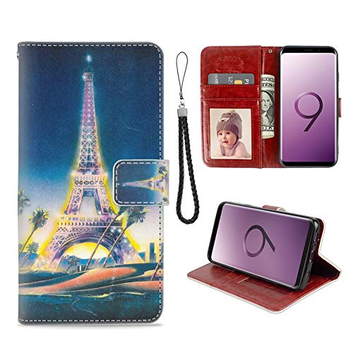 Samsung Galaxy S9 Phone Wallet Case Eiffel Tower in Paris TPU Leather Flip Cover with Card Slot Wallet Case for Samsung Galaxy S9