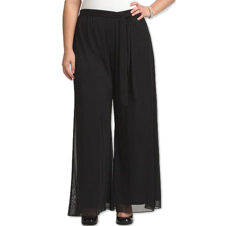 8006 - Plus Size Tummy Control Waistband Wide Legged Palazzo Pants Black
