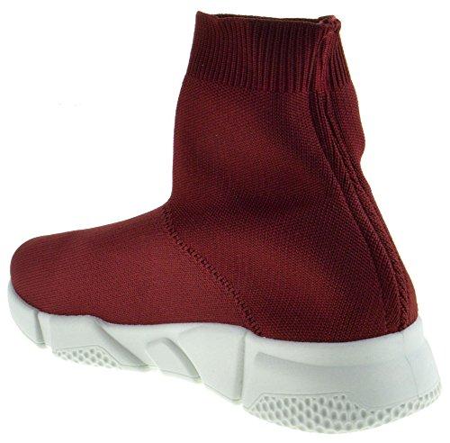 Bamboe Flight 01s Dames Elastische Stof Gebreide Hightop Sneaker Bordeauxrood