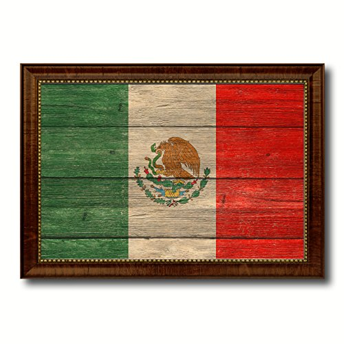 (Mexico Country Flag Texture Canvas Print, Brown Gold Picture Frame Home Decor Wall Art Decoration Gifts)