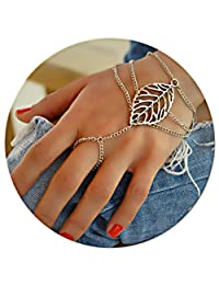 Eza Vision Hand Bracelet Cuff Palm Jewelry Harness Unique Slave Statement Fashion Women Adjustable Chain Ring
