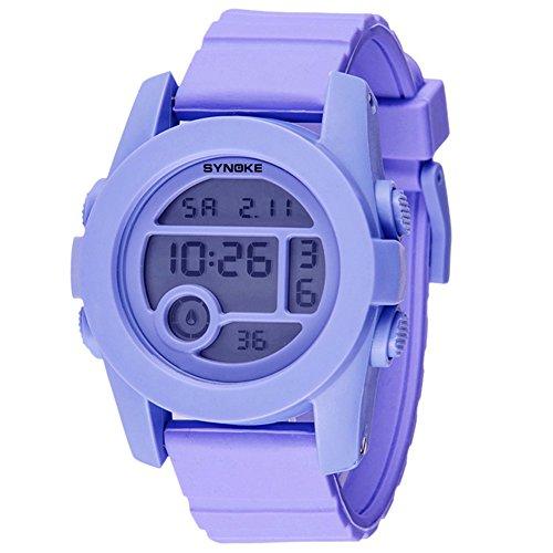 5 Jelly Sport Digital (Fashion Boys Girls Outdoor Digital Quartz Waterproof Jelly Sports Watches For 5-15 Years Old Purple)