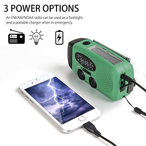 Emergency Hand Crank Self Powered AM/FM NOAA Solar Weather Radio with LED Flashlight, 1000mAh Power Bank Compatible for iPhone/Smart Phone by LeVcoecam (Image #2)