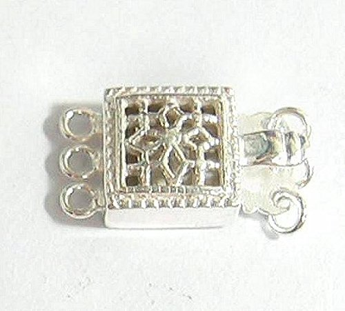 1 pc 925 Sterling Silver 15mm Classic Square / Rectangular Flower Filigree 3 Strand Pearl Box Clasp / Link Connector Switch / Findings