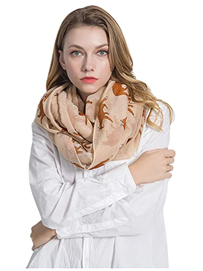 9b10f22be43 GERINLY Cute Fox Print Infinity Loop Scarves For Women (Beige) at ...