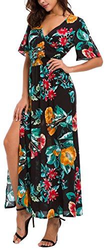 KorMei Womens V Neck Short Sleeve Beach Party Split Casual Floral Maxi Dress