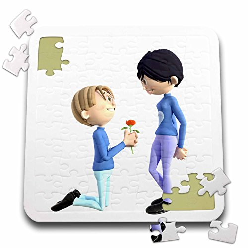 Boehm Graphics Cartoon - Cartoon Couple with Male Kneeling with Flower for Female - 10x10 Inch Puzzle (pzl_256685_2)