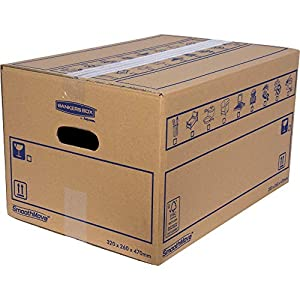 BANKERS BOX 10 SmoothMove Heavy Duty Double Wall Cardboard Moving and Storage Boxes with Handles, 39 Litre, 26 x 32 x 47…