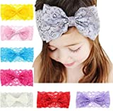Baby Headbands Turban Knotted, Girl's Hairbands for Newborn,Toddler and Childrens (8 Lace Bow)
