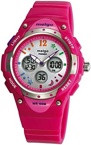 PASNEW Water-proof 100m Dual Time Unisex Child Outdoor Sport Watch Pink