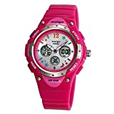 Jewtme pasnew Boys Grils LED Waterproof 100m Dual Time Unisex Children Outdoor Sport Watch (Pink)