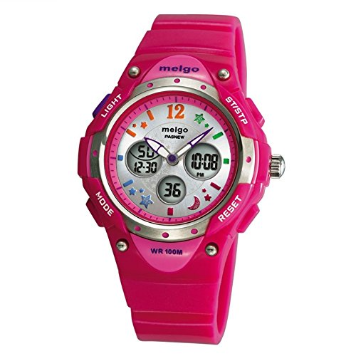 Jewtme pasnew Boys Grils LED Waterproof 100m Dual Time Unisex Children Outdoor Sport Watch (Pink) by PASNEW