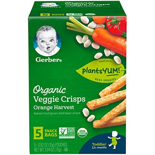 Gerber Organic Veggie Crisps, Orange Harvest, 5 Count (Pack of ()
