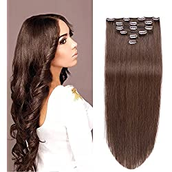 Straight Clip in Human Hair Extensions 70 Gram 6 Pcs/set Clips In 100% Human Hair (14, 2 new)