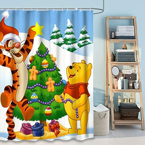 DISNEY COLLECTION Shower Curtain Cartoon Tigger and Winnie The Pooh Winter Celebration Christmas Tree Decoration Gifts Desktop HD Wallpapers Bathroom Shower Curtains with Hooks