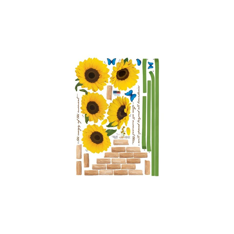 Reusable Decoration Wall Sticker Decal   ECO Morning Sunflowers