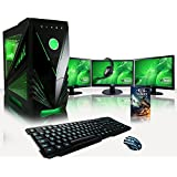 "VIBOX Warrior Package 7 Gaming PC - 4.0GHz AMD FX 4-Core CPU, GTX 1060 GPU, VR Ready, Desktop Computer with Game Bundle, 3x Triple Display 22"" Monitor Setup, Headset, Gamer Keyboard & Mouse, Green Internal Lighting and Lifetime Warranty* (3.8GHz (4.0GHz Turbo) Super Fast AMD FX 4300 Quad 4-Core CPU Processor, Nvidia GeForce GTX 1060 3GB Graphics Card, 16GB DDR3 1600MHz RAM, 1TB Hard Drive, 85+ Rated PSU, Vibox Green Case, No Operating System Installed)"